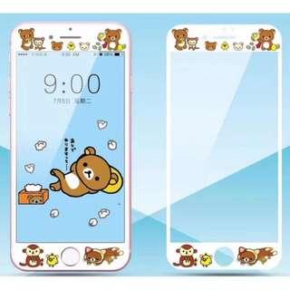 保護膜 IPhone6/7/8/plus : 卡通鬆弛熊3D軟邊鋼化膜