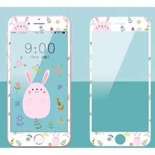 保護膜 IPhone6/7/8/plus : 粉紅兔子3D軟邊鋼化膜