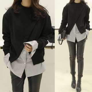 Black Pullover Patchwork with Stripe Shirt