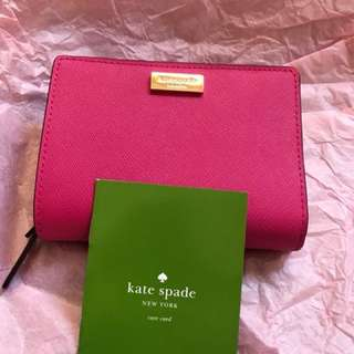 Pink kate spade leather wallet