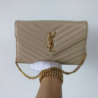 Authentic Saint Laurent Monogram Medium Clutch Bag