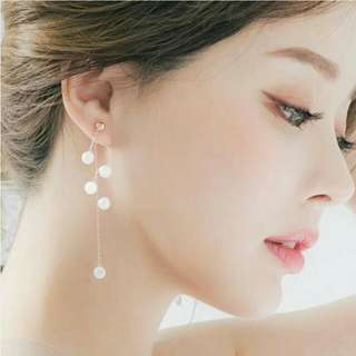SALE - Anting Korea Curved Pearl Diamond Chain
