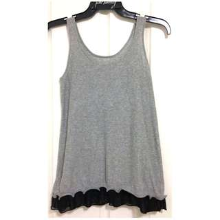 Women's Grey Sleeveless Tank Top with Harem Black Peplum Frill [AU8]