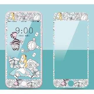 保護膜 IPhone6/7/8/plus : 卡通愛麗絲3D軟邊鋼化膜