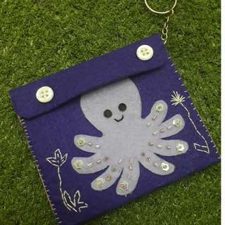 Small Felt Pouch (Purple with Octopus Design)