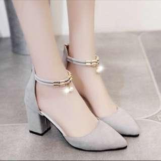 BNIB Korean Style Gray Heels with pearls