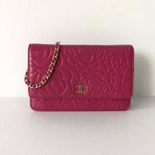 Authentic Chanel Wallet On Chain Camellia