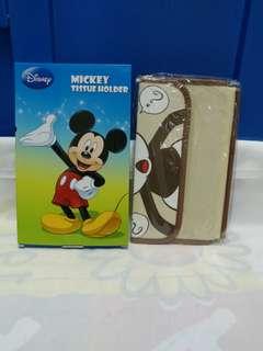 絕版全新迪士尼米啡色米奇老鼠摺疊式紙巾套 1 件