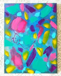 Confetti Bomb canvas painting neon modern art acrylic original one of a kind fun wall art colourful