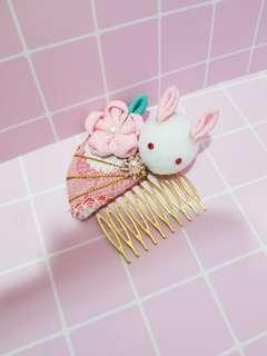 扇形櫻花兔發梳