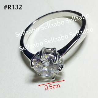 1.7cm Silver Ladies Diamante Solitaire Rings Colours Sellzabo Accessories Stainless Steel #R132 Ladies Girls Women Female Lady