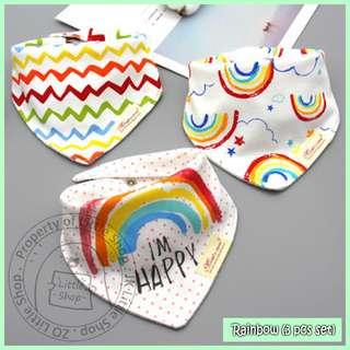 100% Cotton Mom's Care Baby Drool Bibs - Rainbow Set