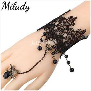 INSTOCK Milady Vintage Gothic Lace Wristlet with Chain Ring / Lace Gothic Bracelet / Lace Bracelet with connected Ring