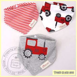 100% Cotton Mom's Care Baby Drool Bibs - Truck Set