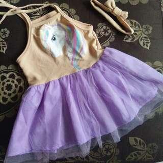 Unicorn tutu dress with matching head bow