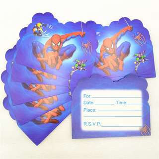 SPIDERMAN Invitation Cards (Pack of 10)