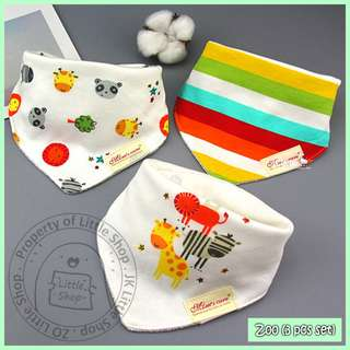 100% Cotton Mom's Care Baby Drool Bibs - Zoo Set