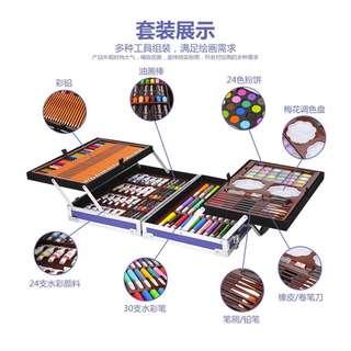 【現貨+預購】雙層鋁盒繪畫套裝 兒童精裝高檔節日禮物學生文具 彩色筆 水彩 蠟筆組合
