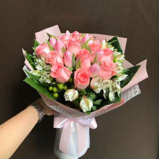Pink tulips and pink roses Alstroemerias Etc Hand Bouquet