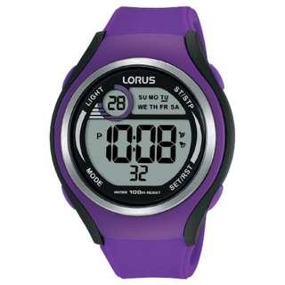 Lorus R2385LX9 Digital Sports Girls Purple Black Jam Tangan Cewek Rubber