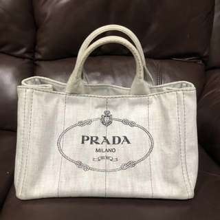 Prada tote Bag 灰色 m size 放到a4