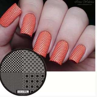 2018 New Style Nail Art Stamp Template Image Plate Simple Square Chain Wave  Nail Stamping Plates Template #hehe005#