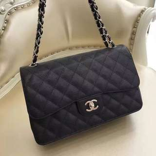 Chanel Classic Double Flap Jumbo 黑色牛皮