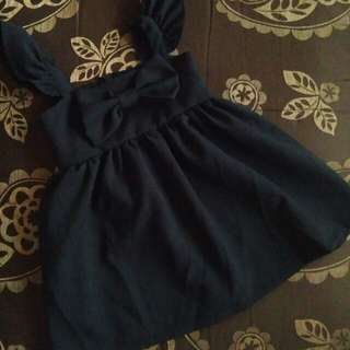 Black semi formal bow dress