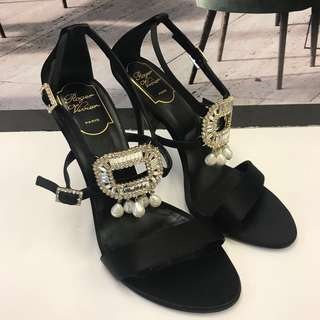 Brand New Roger Vivier Swarovski Crystal Satin Sandals