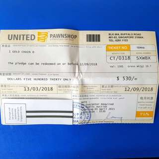 PAWNTICKET OF ROPE GOLD CHAIN 916GOLD  AVAILABLE FOR SALE