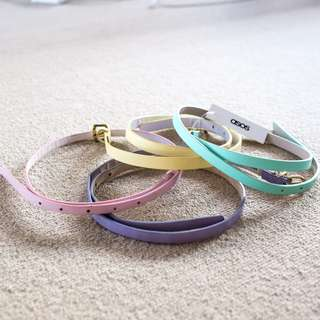 Bulk/Bundle 4x ASOS pastel-coloured skinny belts sz Small