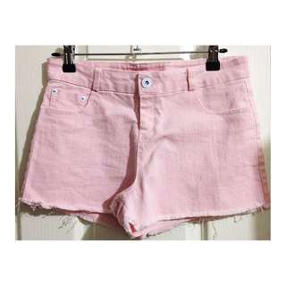 Women's Pastel Pink Mid Waist Denim Mini Shorts [AU8]