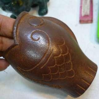 陳年物 南部鐵制 魚型筆筒