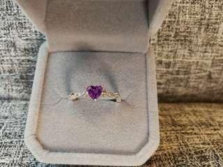 🔮天然紫水晶心形純銀鍍白金戒指🌠主石5x5m5mm晶體通透 顔色超美 開囗圈