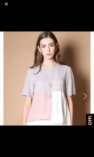 TSW Robyn Colourblock top in Grey