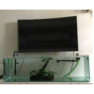 4Feet TV Console Fish Tank with Accessories (Plug & Play)