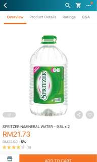 Spritzer 9.5L mineral water x 2 (RM70 if take 5)