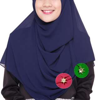 Instant Chiffon Shawl with Charm (Green only)