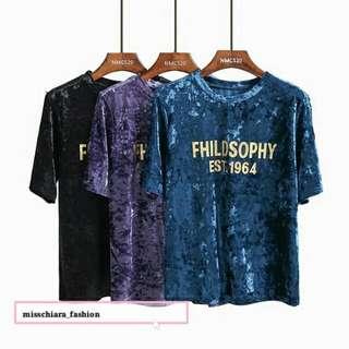 需預訂 百搭印花字母絲絨T-shirt