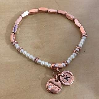 Mimco Rose Gold Pearl White Diamond Elastic Charm Bracelet