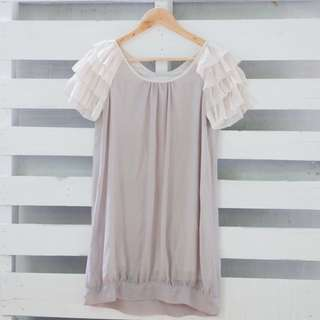 Ruffled Sleeves Chiffon Dress
