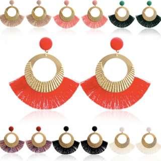 Tassel Dangle Earrings Big Circle Crystal Dangle Ear Studs Jewelry Party Wear