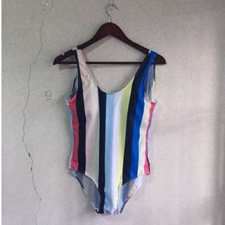 BN ROMWE Solid & Striped Inspired One Piece Monokini Swimsuit