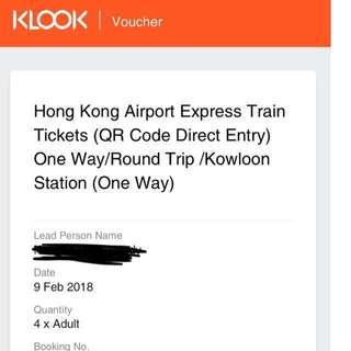 Hong Kong airport express to Mong Kok x4