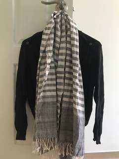 Grey and White Striped Scarf Wrap