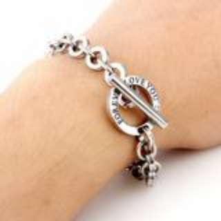 Letter Design Titanium Steel Silver Couple Bracelets