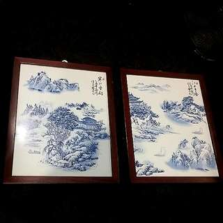 Blue White Vintage Chinese Porcelain Painting