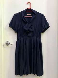 Princess Highway dark navy pleated skirt dress