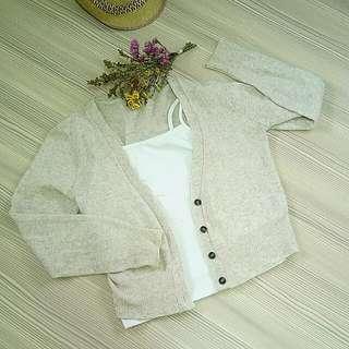 無印風針織外套+白色小背心一起賣