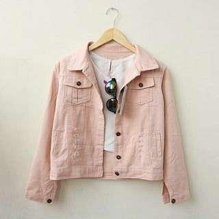 Jaket jeans wrna pink muda